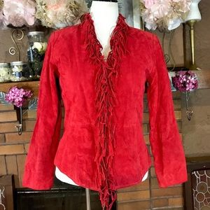 DIALOGUE RED SUEDE FRINGE JACKET (S)